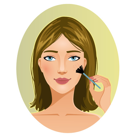 cheek: Young woman applies rouge on her cheek during her makeup ritual, eps10 Illustration