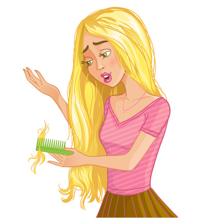Cure blond cartoon girl with hair fall,