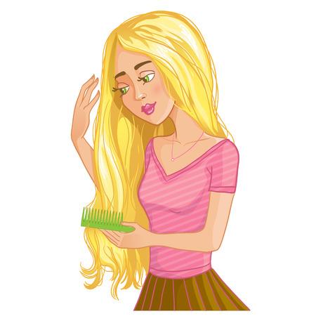 Cute blond cartoon girl combs hair,