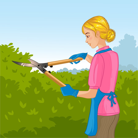 bush trimming: Young woman trimming a bush or tree with big clippers Illustration