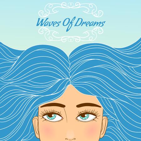 pelo ondulado: Linda chica con los ojos grandes de la historieta y azul pelo largo y ondulado, imagen conceptual