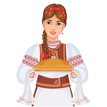 etnia: Mujer joven en ropa nacional ucraniana con pan redondo Vectores
