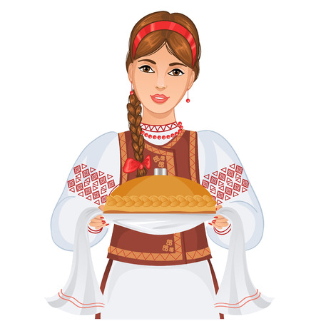 tradition traditional: Young woman in Ukrainian national clothes with round loaf