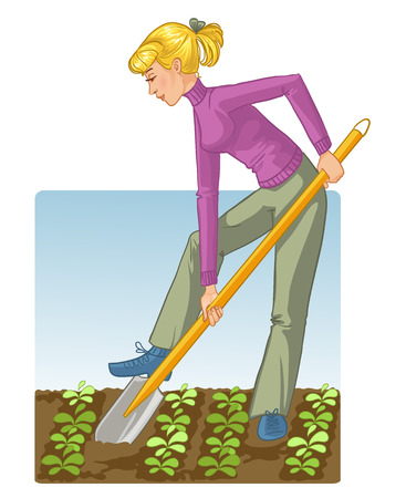 garden maintenance: Young blonde woman digging spring soil with shovel,