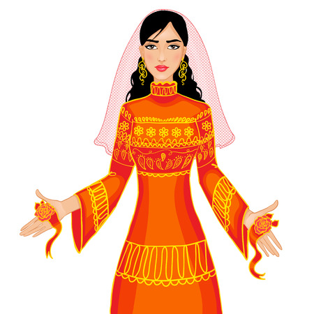 Vector image of ceremony at henna night, kina gecesi, a bride in ceremonial dress, eps10