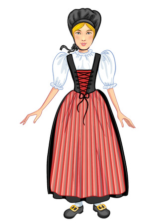 national costume: Young cartoon woman in Swiss national costume, of Schaffhausen region