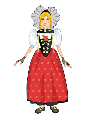 national costume: Young cartoon woman in Swiss national costume, of Bern region