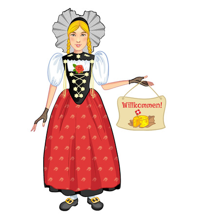 national costume: Young cartoon woman in Swiss national costume, of Bern region, welcomes to Switzerland Illustration