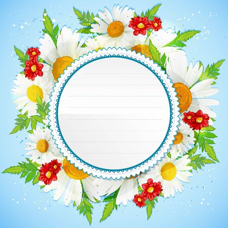 chamomiles: Floral decorative card with white chamomiles and place for your text Illustration
