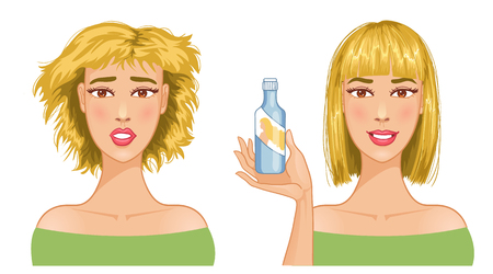 hair do: Young woman with hair-dress before and after care,  Illustration