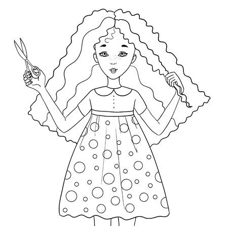 Cute cartoon meisje knipt haar haar met een schaar, een schema, geïsoleerd op wit Stock Illustratie