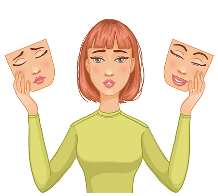 Onzekere vrouw met maskers van de gelukkige en droevige gezichten in haar handen Stockfoto - 39312090