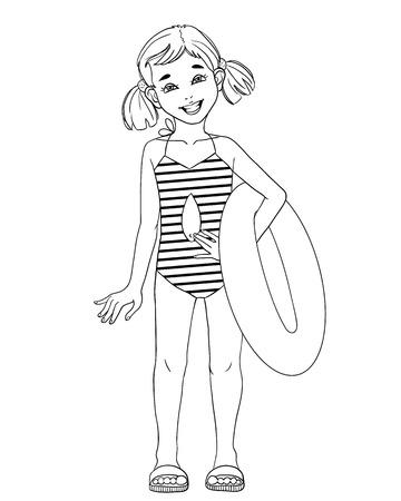 enfant maillot de bain: Petite fille avec un contour du cercle de natation isolé sur blanc Illustration