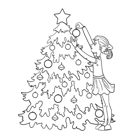 Little cartoon girl decorates Christmas tree with balls outline isolated on white Illustration