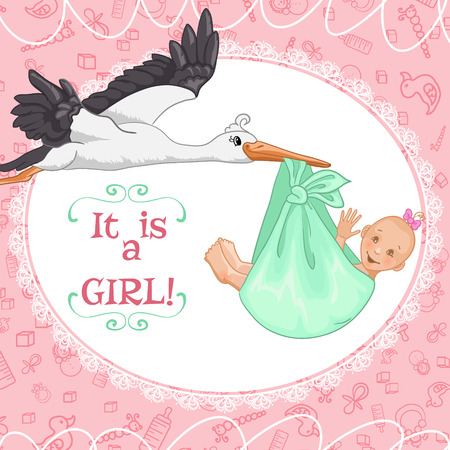Baby greetings card with stork and baby girl