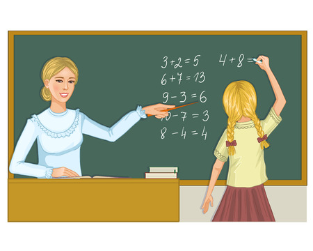 resolving: Teacher and schoolgirl at blackboard