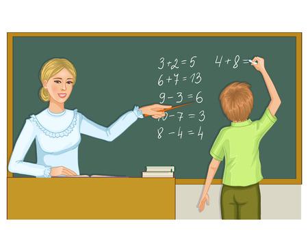 resolving: Teacher and schoolboy at blackboard  Illustration