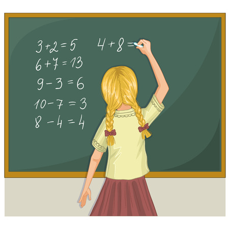 schoolgirl: Schoolgirl resolves mathematical tasks on blackboard eps10