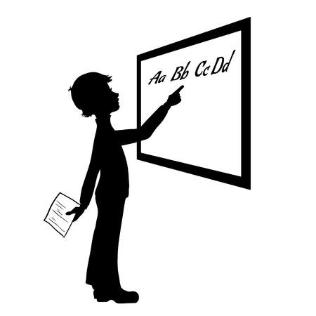 teenagers learning: Silhouette of schoolboy at blackboard
