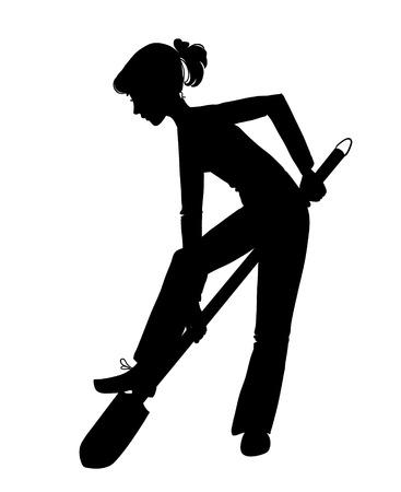 Silhouet van de vrouw graven met schop
