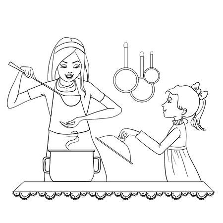 kid vector: Vector de imagen de madre e hija, que pone a prueba los alimentos en el contorno de la cocina aislado en blanco