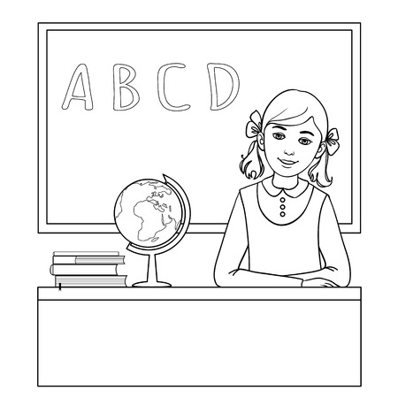school board: Vector image of schoolgirl at the desk near the blackboard outline isolated on white