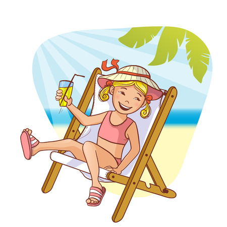 vector girl: Little cartoon girl sitting in chaise-longue on the beach, eps10