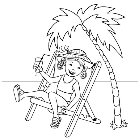 deckchair: Vector image of little cartoon girl sitting in chaise-longue on the beach near palm tree with cocktail in hand, outline isolated on white Illustration