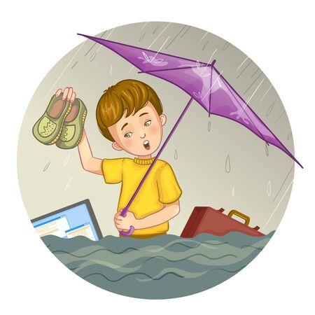 suffers: Little cartoon boy who suffers from flood, eps10