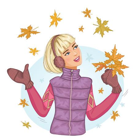 caras felices: Mujer joven con las hojas de otoño de arce en la mano, Vectores