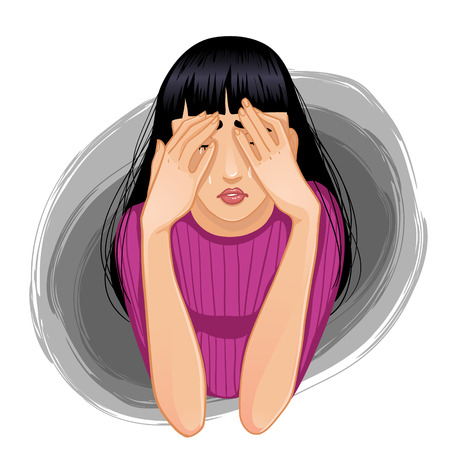 brunet: Vector image of young sad crying woman who closes her face with her hands, eps10
