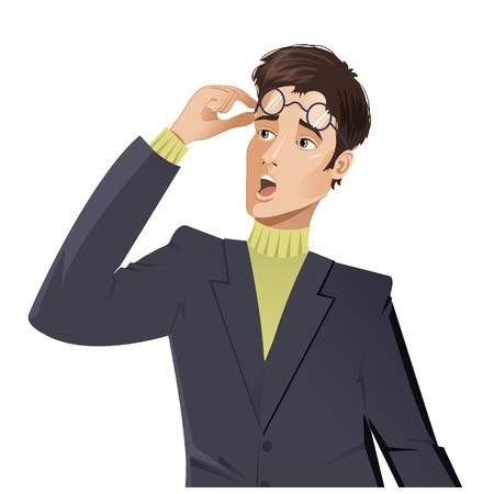 Vector beeld van verrast jonge cartoon man die zijn bril af neemt