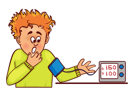 Vector image of ill little cartoon man with complaints about high blood pressure, he measures it with tonometer