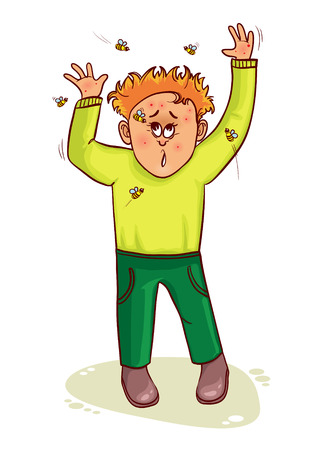 Vector image of little cartoon man who waves wasps away and has complaints about stings