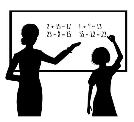 Silhouet van schoolmeisje en leraar bij bord, vector afbeelding