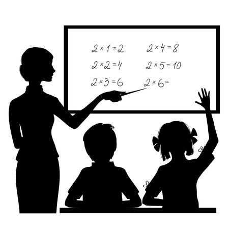 student teacher: Silhouette of teacher at blackboard explaining children mathematics, vector image