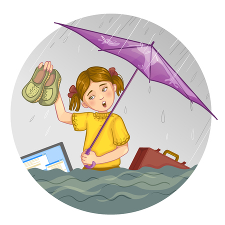 belongings: Little cartoon girl who suffers from flood. She stays with umbrella in one hand and shoes in another waist-high in the water while her belongings swim around. Vector image, eps10
