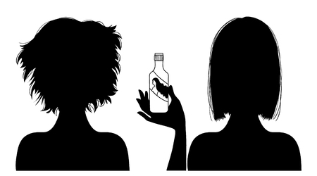 hairdress: Black silhouette of  woman with hair-dress before and after care, vector image