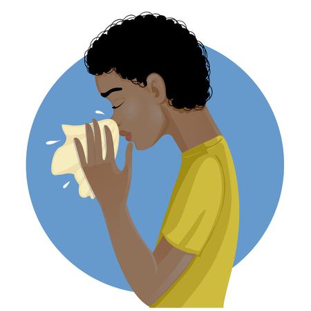 grippe: Sneezing african american man, eps10 Illustration