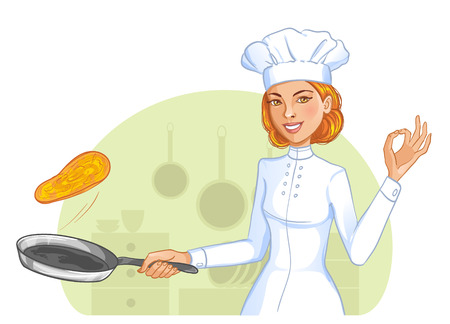 Cute cook girl tosses pancake in frying pan, eps10
