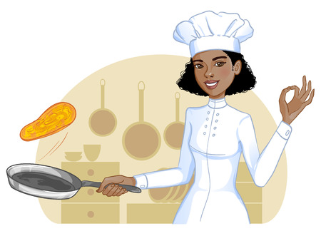 Leuke Afrikaanse Amerikaanse kok meisje gooit pannenkoek in de koekenpan, eps10