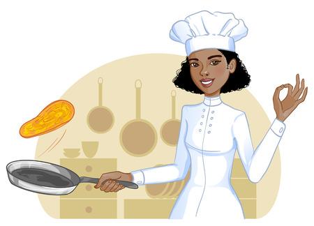 Cute african american cook girl tosses pancake in frying pan, eps10