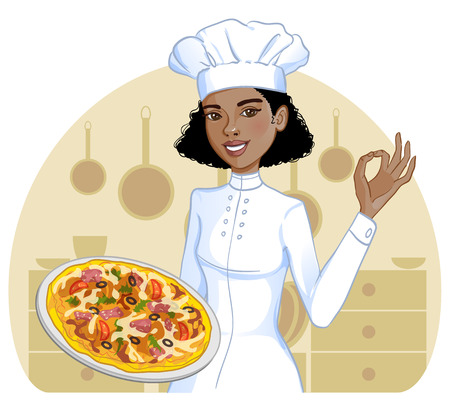 Cute african american cook girl with pizza on plate, eps10