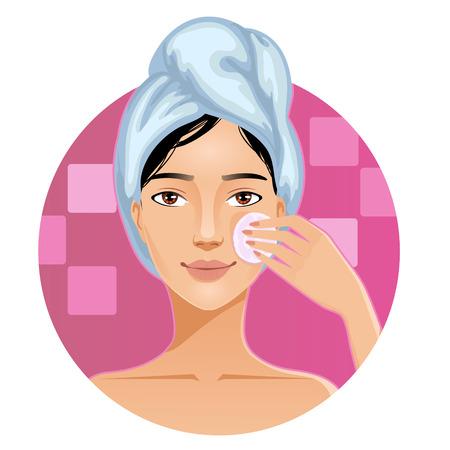 Mujer joven con una toalla alrededor de su cabeza la limpieza de la cara con una esponja, imagen vectorial, eps10 Ilustración de vector