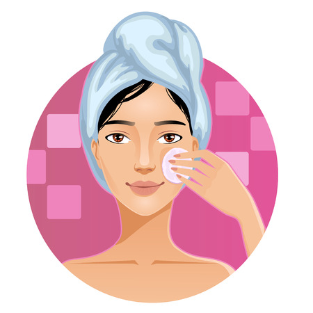 towel: Young woman with a towel around her head cleaning her face with sponge, vector image, eps10