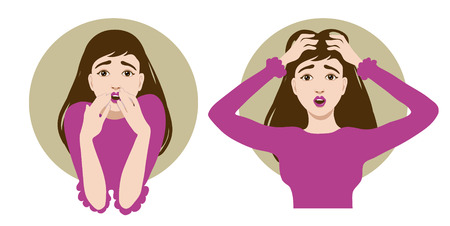 people looking up: Two images of a scared cartoon young woman, one clutches her head in horror, another closes her mouth with her hands Illustration