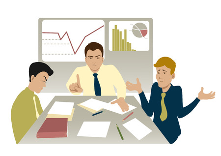 mobbing: Unsuccessful meeting with boss and two colleagues, vector image Illustration