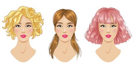 Coiffures ensemble, coupe de cheveux, blonde, rose, femme brune