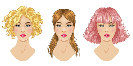 short: Hairstyles set,  haircut, blonde, pink, brown woman Illustration