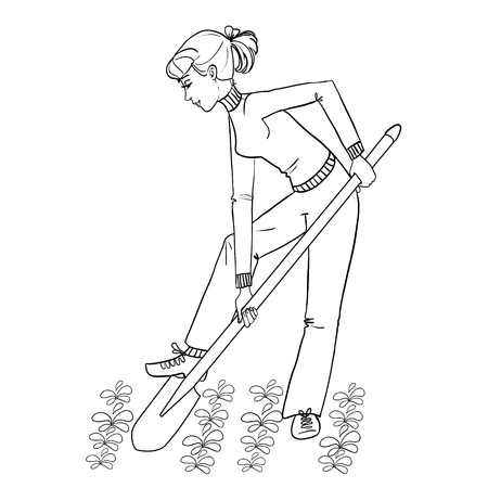 plant stand: Young woman digging spring soil with shovel, outline, vector